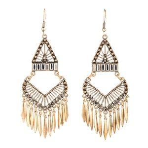 BOGO! Bohemian Chandelier Earrings Gold Gray